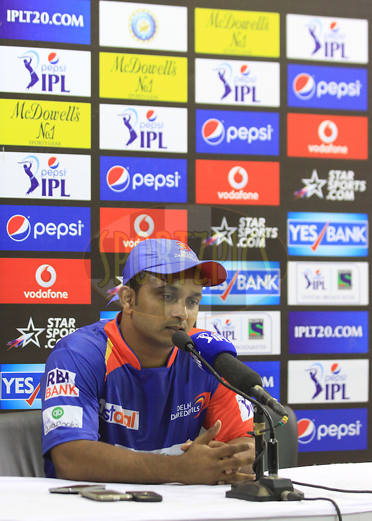 Kedar Jadhav of the Delhi Daredevils during press conference after match 23 of the Pepsi Indian Premier League Season 2014 between the Delhi Daredevils and the Rajasthan Royals held at the Feroze Shah Kotla cricket stadium, Delhi, India on the 3rd May  2014<br /> <br /> Photo by Arjun Panwar / IPL / SPORTZPICS<br /> <br /> <br /> <br /> Image use subject to terms and conditions which can be found here:  http://sportzpics.photoshelter.com/gallery/Pepsi-IPL-Image-terms-and-conditions/G00004VW1IVJ.gB0/C0000TScjhBM6ikg