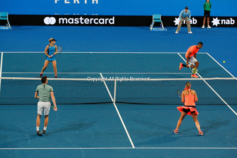 03.01.2017. Perth Arena, Perth, Australia. Mastercard Hopman Cup International Tennis tournament. Mixed doubles action between Australia and the Czech Republic. The Czech Republic won 3-4, 4-3, 4-2.
