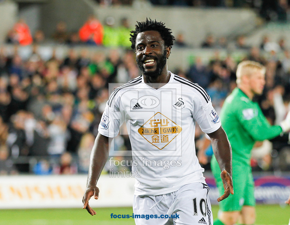 Wilfried Bony celebrates his second goal for Swansea City against Leicester City during the Barclays Premier League match at the Liberty Stadium, Swansea<br /> Picture by Mike  Griffiths/Focus Images Ltd +44 7766 223933<br /> 25/10/2014