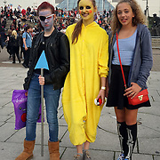 London, UK. 30th October, 2016. Hundreds of Comics fans dress up in costumer hanging at the front of Excel London poshing for photoshoot to photographer in London,UK. Photo by See Li