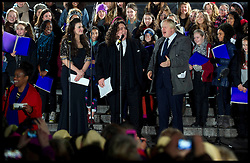 The Mayor of London Boris Johnson will be joined by Britain's Got Talent duo Jonathan & Charlotte for a festive concert to thank Olympic Volunteers for their amazing work welcoming the world to London during the 2012 Games in Trafalgar Square, London, Saturday December 8, 2012. Photo by Andrew Parsons / i-Images