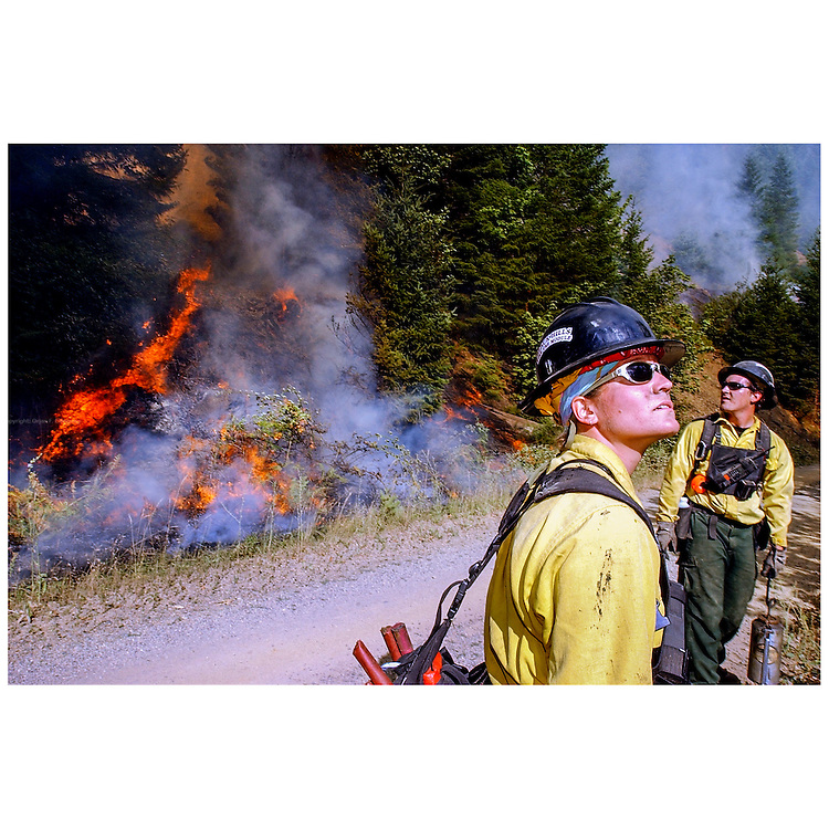 "Hotshots battling a wildfire in Tiller, Oregon back in 2002. Global warming triggers ever more and bigger wildfires. For the first time in its 110-year history, the Forest Service, part of the U.S. Department of Agriculture, is spending more than 50 percent of its budget to suppress the nation's wildfires, according to a report released  August 5th 2015. ""Climate change and other factors are causing the cost of fighting fires to rise every year,"" said Agriculture Secretary Tom Vilsack, ""but the way we fund our Forest Service hasn't changed in generations.» The work done by hotshots and smoke jumpers is extremely dangerous, trying to contain and control the fire by cutting or burning off fuel on the ground. They are in good physical condition and have to be able to take care of themselves in case they get trapped by the unpredictable fires."