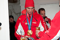 Swiss skier Carlo Janka celebrates his gold medal win in the mens' giant slalom at the House of Switzerland during the 2010 Olympic Winter Games in Whistler, BC Canada.
