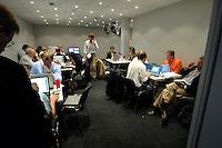 08 JUN 2007, HEILIGENDAMM/GERMANY:<br /> Journalisten im Medienzentrum des G8 Gipfels<br /> IMAGE: 20070608-01-015<br /> KEYWORDS: G8 Gipfel, Pressezentrum, media center