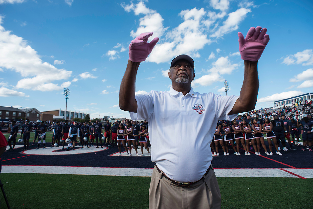 WASHINGTON,DC - October 7, 2017: Band Director John E. Newson leads the band in the alma mater at the end of the game. Howard University's Showtime Marching Band is part of a long tradition of outstanding bands at HBCU's. The band practices in the days leading up to a home game against North Carolina Central. (André Chung for The Undefeated)