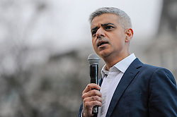 © Licensed to London News Pictures. 26/02/2017. London, UK. Mayor of London, Sadiq Khan on stage ahead of the special premiere free screening of the Oscar-nominated, Best Foreign Language in Trafalgar Square.  The film's Iranian director, Asghar Farhadi, decided to boycott tonight's main Oscars ceremony in Hollywood, in solidarity with those affected by President Donald Trump's travel ban on people from seven Muslim majority countries (including Iran) from entering the USA.   Photo credit : Stephen Chung/LNP