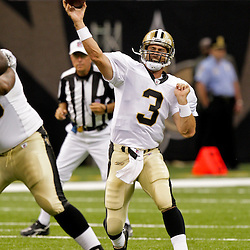 2009 August 14: New Orleans Saints quarterback Joey Harrington (3) passes the ball during 17-7 win by the New Orleans Saints over the Cincinnati Bengals in their preseason opener at the Louisiana Superdome in New Orleans, Louisiana.