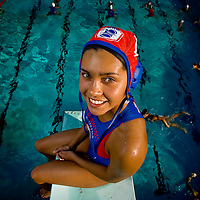 Los Altos High School water polo player Stephanie Contreras is closing in on a CIF-SS scoring record. Monday, Feb. 15, 2010. (SGVN/Staff Photo by Eric Reed/SPORTS)