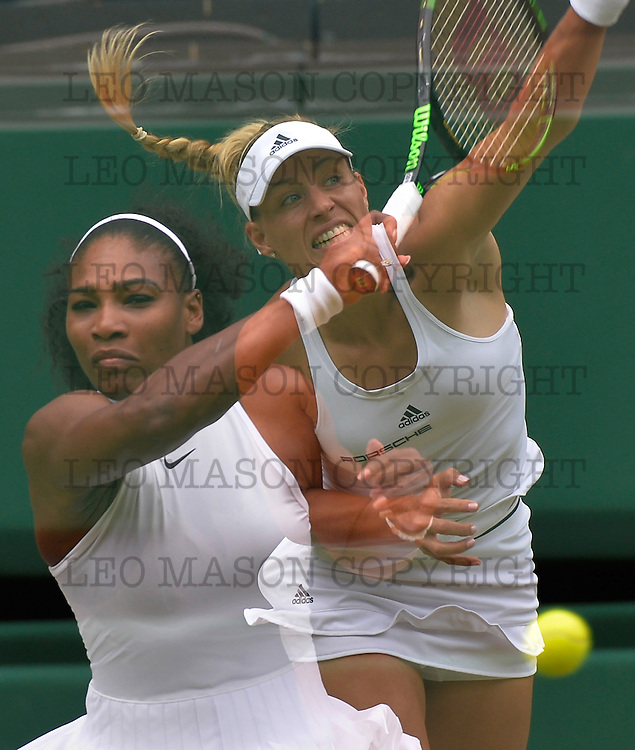 09.07.2016 AELTC Tennis Championships at Wimbledon London UK Ladies Final Serena Williams USA Vs Angelique Kerber GER double exposure of ladies finalists Serena Williams USA &amp; Angelique Kerber GER<br /> The match was won in straight sets by Williams