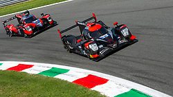 The LMP2 car of TDS RACING (Matthieu VAXIVIERE, Francois PERRODO, Loic DUVAL), placed second at the ELMS 4 hours of Monza 2018, here at Parabolica turn followed by LMP2 #27 of IDEC SPORT.
