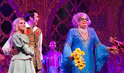 "© Licensed to London News Pictures. 08/12/2011. London, England. L-R: Television Presenter Anna Williamson as Alice Fitzwarren, Dancing on Ice 2011 Winner Sam Attwater as Dick Whittington and Barry Humphries as Dame Edna Everage - Saviour of London. Dick Whittington panto starring Dame Edna Everage (Barry Humphries) as the ""Saviour of London"" opens at the New Wimbledon Theatre, London. The show, written and directed by Eric Potts is scheduled to run to 15 January 2012. Photo credit: Bettina Strenske/LNP"