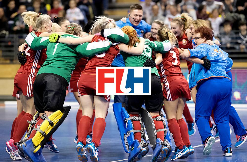 BERLIN - Indoor Hockey World Cup<br /> Bronze: Ukraine - Belarus<br /> Belarus wins 3rd place.<br /> foto:<br /> WORLDSPORTPICS COPYRIGHT FRANK UIJLENBROEK