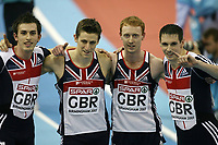 Photo: Rich Eaton.<br /> <br /> EAA European Athletics Indoor Championships, Birmingham 2007. 04/03/2007. Philip Taylor, Dale Garland, Steven Green and Robert Tobin celebrate their silver medal in the mens 4x400m relay