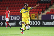 AFC Wimbledon midfielder Tom Soares (19) scoring goal during the EFL Trophy match between Charlton Athletic and AFC Wimbledon at The Valley, London, England on 4 September 2018.