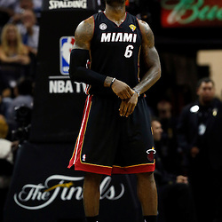 Jun 13, 2013; San Antonio, TX, USA; Miami Heat small forward LeBron James (6) looks at the score board during the third quarter of game four of the 2013 NBA Finals against the San Antonio Spurs at the AT&T Center. Mandatory Credit: Derick E. Hingle-USA TODAY Sports