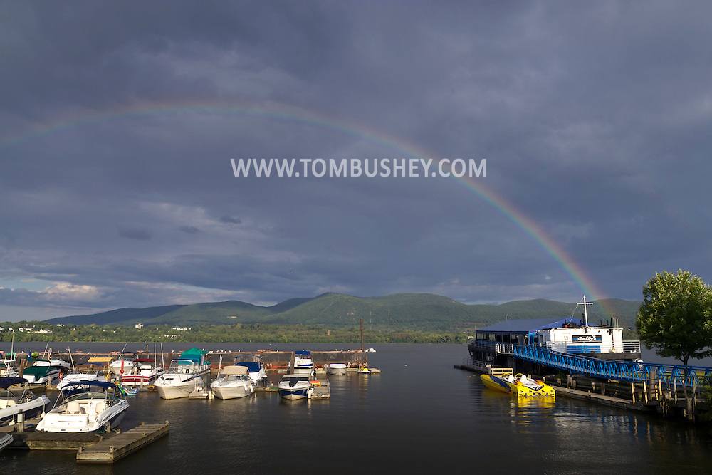 Newburgh, New York - A rainbow over the Hudson River on  Aug. 14, 2014.