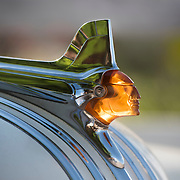 Pontiac Chieftan hood ornament on a Pontiac Eight vintage car