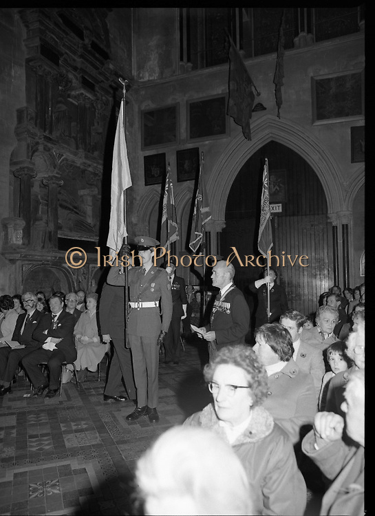 Remembrance Day Service.1983.13.11.1983.11.13.1983.13th November 1983..A remembrance service was held in St Patrick's Cathederal, Dublin,(Poppy Day) to commerate the Irish Fallen who died  whilst on service with the British Army in the two World Wars..Photo of the congregation inside St Patricks Cathedral As the colours are paraded to the altar.