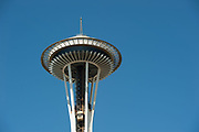 2017 JULY 25 - The Space Needle at Seattle Center on a sunny summer day in Seattle, WA, USA. By Richard Walker