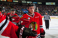 KELOWNA, CANADA - APRIL 14: Matt Revel #18 and Brad Ginnell #27 of the Portland Winterhawks fist pump the bench to celebrate a goal against the Kelowna Rockets on April 14, 2017 at Prospera Place in Kelowna, British Columbia, Canada.  (Photo by Marissa Baecker/Shoot the Breeze)  *** Local Caption ***