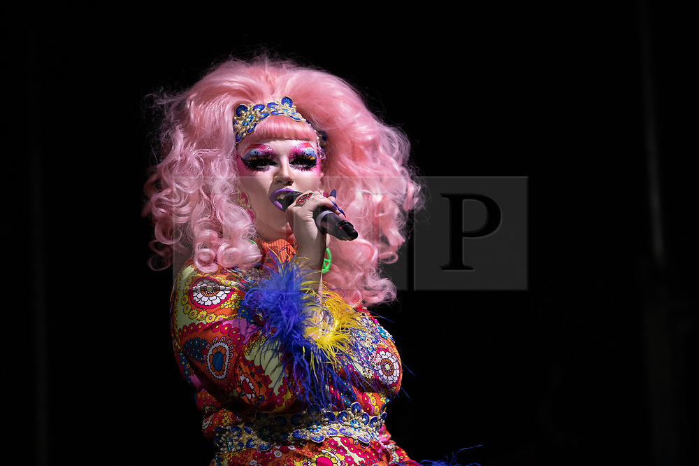 © Licensed to London News Pictures . 26/08/2019. Manchester, UK. CHEDDAR GORGEOUS . A candlelit vigil , organised by the George House Trust , in memory of the victims of HIV and AIDS , takes place in Sackville Gardens in Manchester's Gay Village , at the close of 2019's Manchester Pride . Photo credit: Joel Goodman/LNP
