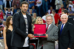 Vlade Divac of Serbia,  president of FIBA Yvan Mainini and ex-president of FIBA Bob Elphinston at  FIBA Hall of fame ceremony during the final basketball match between National teams of Turkey and USA at 2010 FIBA World Championships on September 12, 2010 at the Sinan Erdem Dome in Istanbul, Turkey.   (Photo By Vid Ponikvar / Sportida.com)