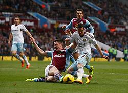 West Ham United's Matthew Jarvis shot on goal is blocked by Aston Villa's Ciaran Clark - Photo mandatory by-line: Matt Bunn/JMP - Tel: Mobile: 07966 386802 08/02/2014 - SPORT - FOOTBALL - Birmingham - Villa Park - Aston Villa v West Ham United - Barclays Premier League
