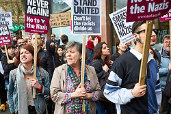 © Licensed to London News Pictures. 01/04/2017. LONDON, UK.  EDL and Britain First protest march through central London. The Met police imposed conditions on the protest and a counter protest in the expectation of serious disorder.  In this picture: Anti-fascist protesters chanting.   Photo credit: Cliff Hide/LNP