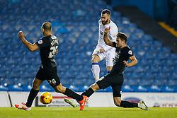 Mirco Antenucci of Leeds United shoots past Ross Killock and Nicky Ajose of Leeds United - Photo mandatory by-line: Rogan Thomson/JMP - 07966 386802 - 04/11/2014 - SPORT - FOOTBALL - Leeds, England - Elland Road Stadium - Leeds United v Charlton Athletic - Sky Bet Championship.