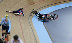 Kendall Ryan of USA (right) collides with Marie Le Net of France during the Women's Madison Final during day three of the Tissot UCI Track Cycling World Cup at Lee Valley VeloPark, London.