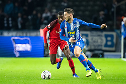BERLIN, Dec. 9, 2018  Hertha's Mathew Leckie (R) controls the ball under the defense from Frankfurt's Evan N'Dicka during a German Bundesliga between Hertha BSC and Eintracht Frankfurt, in Berlin, Germany, on Dec. 8, 2018. Frankfurt lost 0-1. (Credit Image: © Kevin Voigt/Xinhua via ZUMA Wire)
