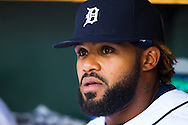 April 20, 2012; Detroit, MI, USA; Detroit Tigers first baseman Prince Fielder (28) sits in dugout during the first inning against the Texas Rangers at Comerica Park. Mandatory Credit: Rick Osentoski-US PRESSWIRE