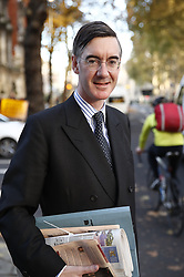 © Licensed to London News Pictures. 14/11/2018. London, UK. Jacob Rees-Mogg is seen in Westminster. Prime Minister Theresa May will hold a cabinet meeting this afternoon to discuss a possible Brexit agreement. London, UK. Photo credit: Peter Macdiarmid/LNP