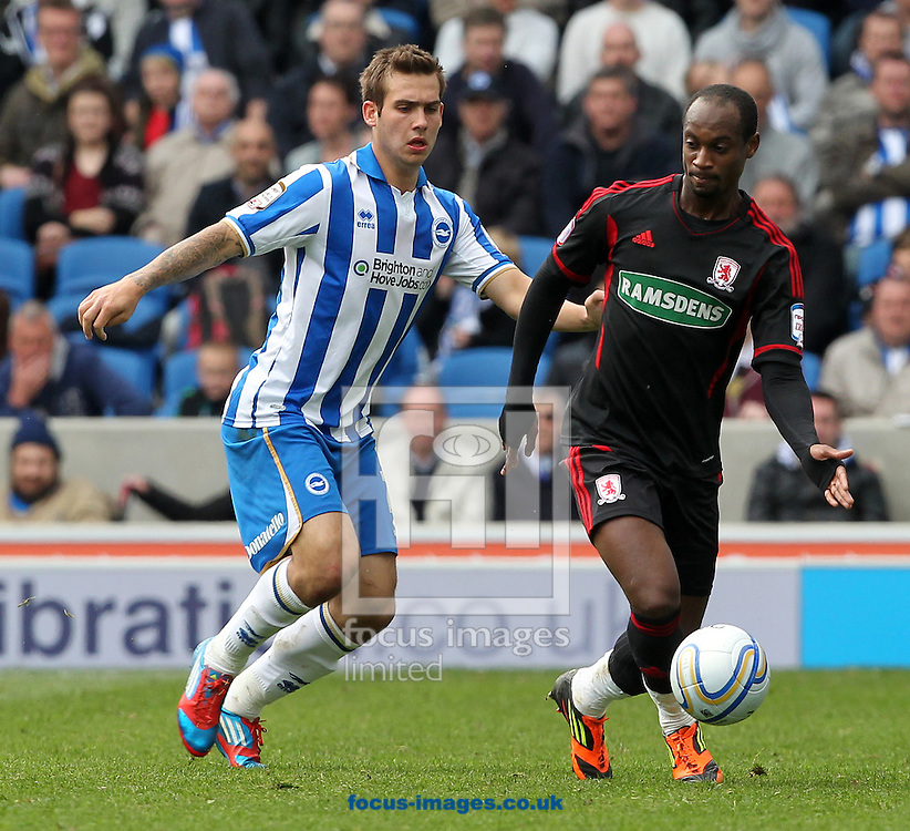 Picture by Paul Terry/Focus Images Ltd. 07545642257.31/03/12.Justin Hoyte of Middlesbrough and Sam Vokes of Brighton and Hove Albion during the Npower Championship match at The American Express Community Stadium, Brighton.