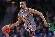 SOUTH BEND, IN - JANUARY 12: Wynston Tabbs #5 of the Boston College Eagles brings the ball up court during the game against the Notre Dame Fighting Irish at Purcell Pavilion on January 12, 2019 in South Bend, Indiana. (Photo by Michael Hickey/Getty Images) *** Local Caption *** Wynston Tabbs