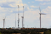 12 JULY 2012 - HOLBROOK, AZ:  Wind turbines at the Dry Lake Wind Farm Project near Holbrook, AZ. Dry Lake Wind Power Project is Arizona's first modern, commercial-scale wind farm. Iberdrola Renewables, LLC developed and built the project on a combination of private, state and federal lands in northeastern Arizona. Landowners include the Rocking Chair Ranch, Arizona State Land Department and the Bureau of Land Management (BLM). The project's 30 Suzlon wind turbines generate 63 megawatts (MW) of electricity for Salt River Project (SRP), the third-largest public power utility in the nation, serving customers in the greater Phoenix metropolitan area. SRP estimates that's enough electricity to power approximately 15,000 average Arizona homes.  PHOTO BY JACK KURTZ