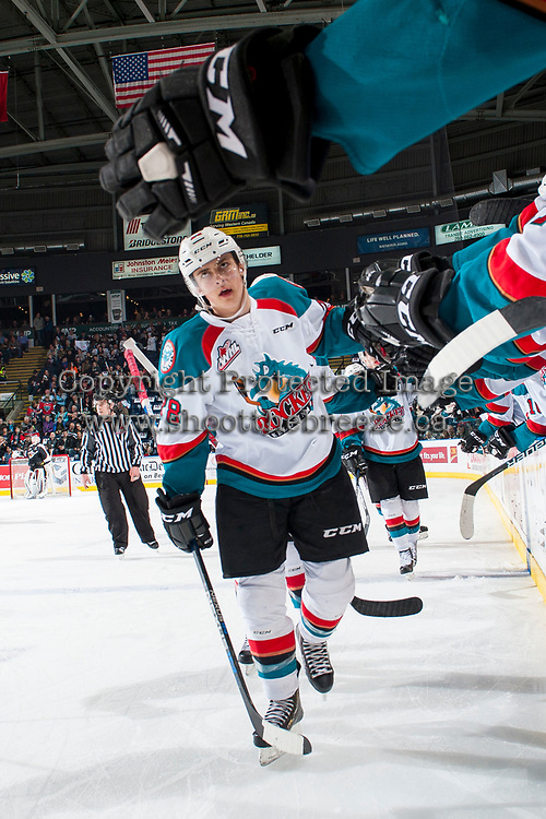 KELOWNA, CANADA - MARCH 10: Leif Mattson #28 of the Kelowna Rockets celebrates a second period goal against the Vancouver Giants on March 10, 2017 at Prospera Place in Kelowna, British Columbia, Canada.  (Photo by Marissa Baecker/Shoot the Breeze)  *** Local Caption ***