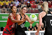 11th April 2018, Gold Coast Convention and Exhibition Centre, Gold Coast, Australia; Commonwealth Games day 7; Netball, England versus New Zealand; Geva Mentor of England  tries to block a pass to Te Paea Selby-Rickit of New Zealand