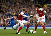 Football - 2018 / 2019 Premier League - Everton vs. Arsenal<br /> <br /> Richarlison of Everton tussles with Nacho Monreal and Matteo Guendouzi of Arsenal, at Goodison Park.<br /> <br /> COLORSPORT/ALAN MARTIN