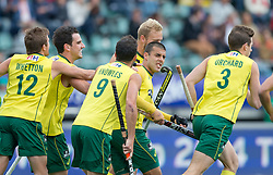 Hockey World Cup 2014<br /> The Hague, Netherlands <br /> Day 5- Men Australia v Belgium<br /> Chris Cireillo goals for Australia<br /> <br /> Photo: Grant Treeby<br /> www.treebyimages.com.au