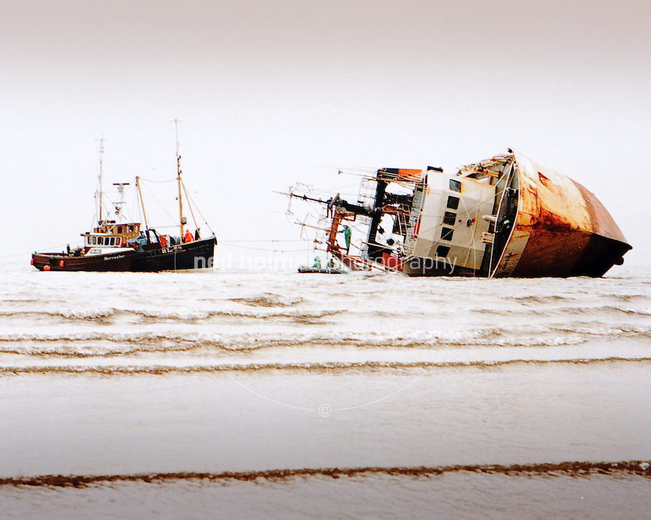 The J Marr fishing trawler Navena seen here in 1984 beached on Scarborough's south beach