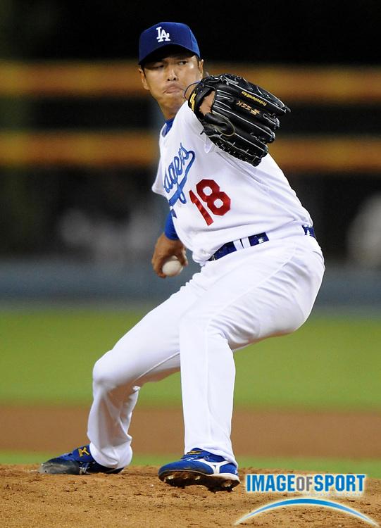 May 6, 2008; Los Angeles, CA, USA; Los Angeles Dodger starter Hiroki Kuroda (18) pitches against the New York Mets at Dodger Stadium.