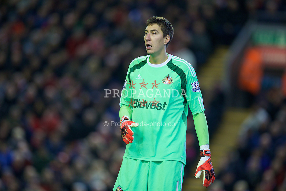 LIVERPOOL, ENGLAND - Saturday, December 6, 2014: Sunderland's goalkeeper Costel Pantilimon in action against Liverpool during the Premier League match at Anfield. (Pic by David Rawcliffe/Propaganda)