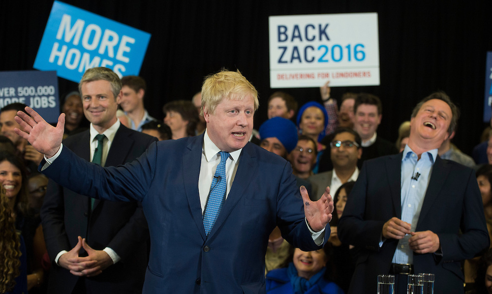 Mayor of London Boris Johnson speaks as British Prime Minister David Cameron (right) and mayoral candidate Zac Goldsmith (left) attend a campaign rally in Richmond, London, Britain, 3 May 2016. Mayoral elections in London are to be held on 05 May 2016.