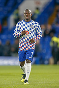 Chelsea defender Ngolo Kante (7) warms up before the EFL Cup 4th round match between Chelsea and Derby County at Stamford Bridge, London, England on 31 October 2018.