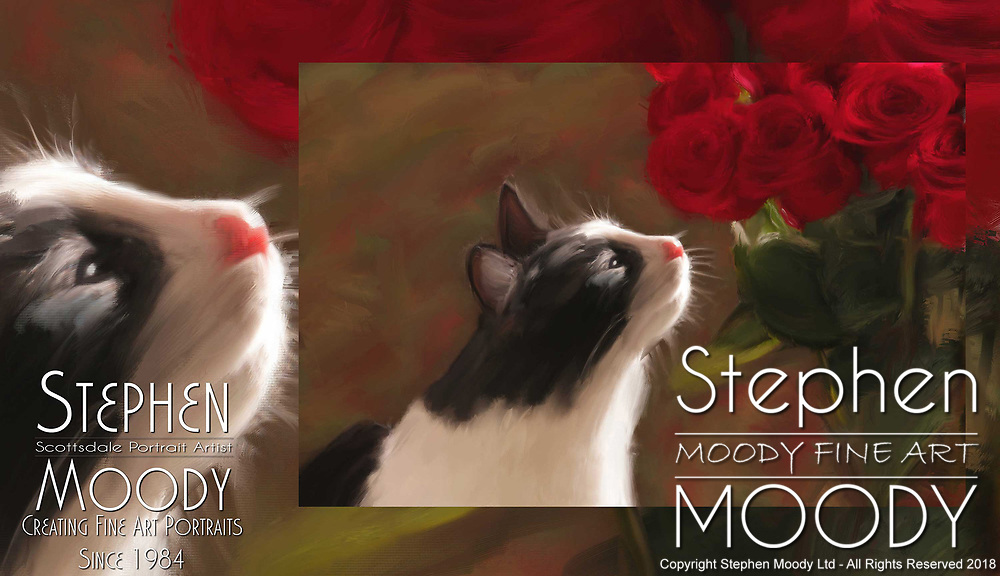 Fifi Smelling a Rose - Fine Art Pet Portraits by Stephen Moody - Scottsdale Portrait Artist and Master Photographer, Scottsdale, AZ