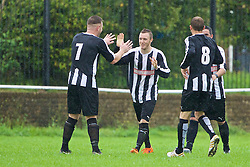 CARDIFF, WALES - Saturday, September 3, 2016: Grange Albion's 14 celebrates scoring a goal during FAW Trophy 2nd Round match against Carnetown FC at Coronation Park. (Pic by David Rawcliffe/Propaganda)