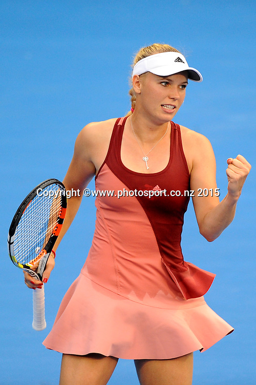 Danish player Caroline Wozniacki during her Semi Finals match of the ASB Classic Women's International. ASB Tennis Centre, Auckland, New Zealand. Friday 9 January 2015. Copyright photo: Chris Symes/www.photosport.co.nz