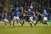 Cody McDonald (10) of AFC Wimbledon and Andy Barcham (17) of AFC Wimbledon up against four Portsmouth players during the EFL Sky Bet League 1 match between Portsmouth and AFC Wimbledon at Fratton Park, Portsmouth, England on 26 December 2017. Photo by Graham Hunt.