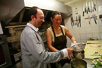 Beaune, Burgundy, France...Pierre and Fabienne Escoffier, the owners of Ma Cuisine, ..He is the host and she is the chef..Photo by Owen Franken for the NY Times..May 27, 2008